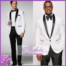 Tailored Bespoke Tuxedo White Jacket Black Lapel Pants 2 Piece Wedding Dress Suits For Men Made In China