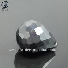 hot selling Wuzhou loose gems drop shape black beads zircon with hole