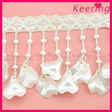 newest white 9.2cm beaded lace tassel fringe for apparel WTP-1286