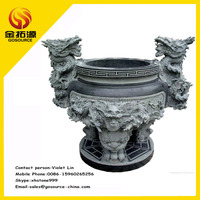 temple stone dragon incense burner censer