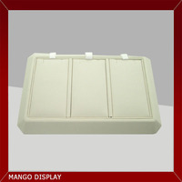 3 Cell Beige jewelry display tray leather