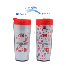 2015 Bulk Buy From China Promotional Business Gift Magic Color Changing Drinkware Water Bottle Double Wall Cup Travel Mug