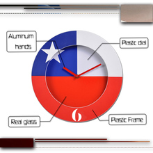 Wall Clock Design Chile Flag Wall Clock Factory Price Plastic