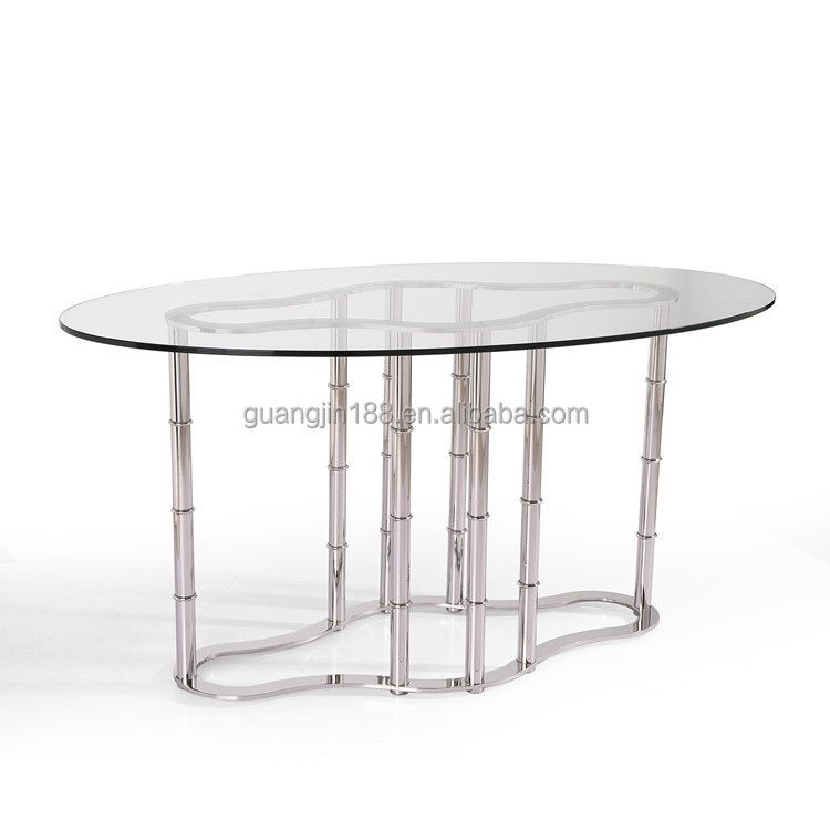 Stainless Steel Oval Shaped Glass Dining Table