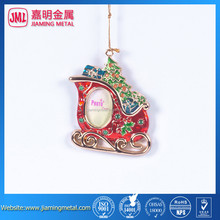 2015 Christmas Wreath Sleigh Ornamnet with red crystal inlay , metal ornament