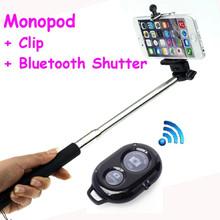 Monopod extendable Self portrait Monopod selfie stick + Bluetooth Remote Shutter + Phone Clip For cell phone