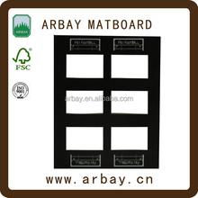 Wholesale 2.0mm black core multi opening photo mat for decorative photo frame
