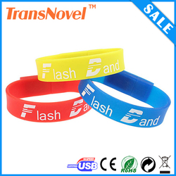 Hot sell real capacity silicone bracelet usb flash drive with custom logo printing