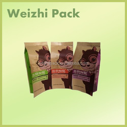 Natural stock top grade kraft paper bag for coffee bean in good quality