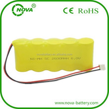 ni-mh rechargeable battery 6v 2500mah nimh battery pack ni mh 6 volt 2500 mah
