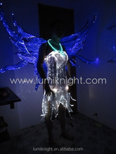LED fiber optic luminous dress with wings/girl dress/Light-up dress/Fairy dress Stage Performance Apparel