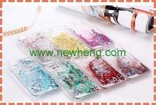 Factory price glitter heart liquid case for iphone6