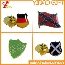Flag metal lapel pin badge with epoxy,with safety pin butterfly and clutch backing