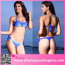 Summer Beach Sexy 2pc Blue Gradient Bikini Swimming Bikini Brazilian photos sexy full open lady