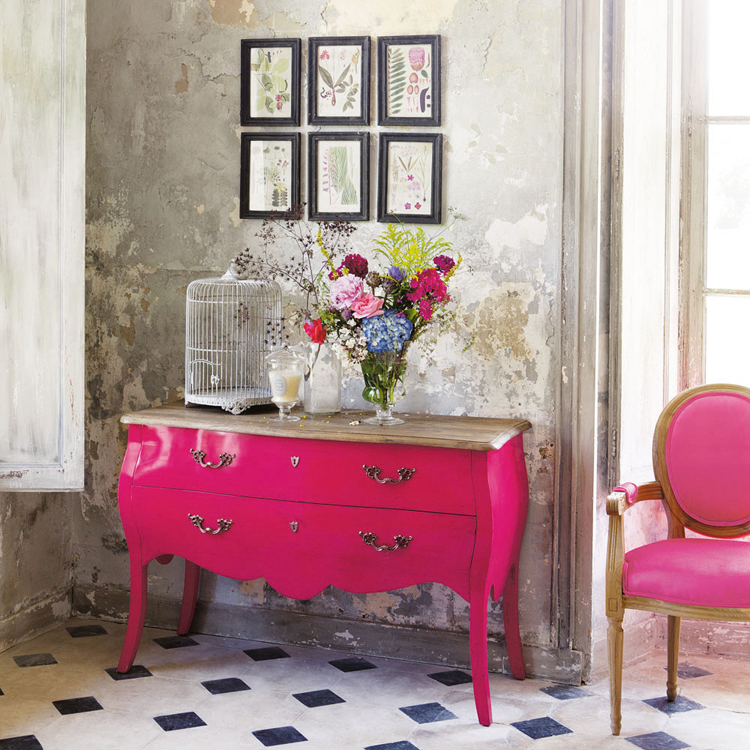 Shabby chic antiguo gabinete aparador buffet rosa pintado a mano ...