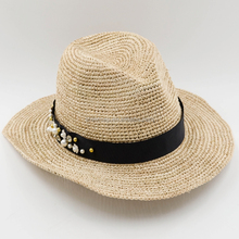 100% Raffia straw fedora hat hand made raffia straw hat with flowers ribbon band
