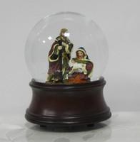 Nativity snow gloge with music box wood grain base