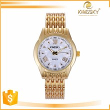 2015 kingsky 2183# real conch dial face geneva lady vogue vintage gold watch