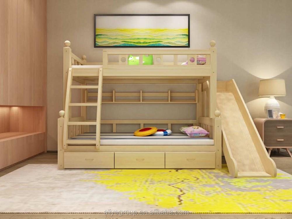 Zc06 usine prix pas cher enfants lit superpos avec toboggan lit d 39 enfant id de produit for Portique en bois avec toboggan