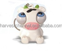 Lovely pvc moving eyes cartoon cow shape toys
