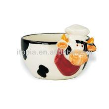 Mini calf animal shaped ceramic pudding cup
