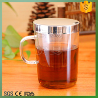 Glass drinking cup with stainless steel lid