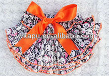 Printed satin baby diaper cover with orange bow,childrens ruffle summer shorts