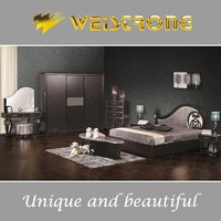 Weistrong hot sale unique modern black bedroom furniture sets with cheap wardrobe and antique vanity dresser in Foshan furniture