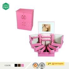 Wooden makeup jewelry organizer box