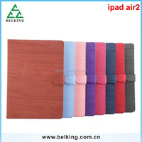 Wood Grain Pattern PU Leather Smart Stand Flip Leather Case for Apple iPad 6 Air 2