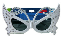 plastic butterfly shape party glasses with diamond decoration/children arton toy/party accessories