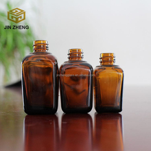 30ml 40ml 50ml amber square essential oil glass bottle with pump dropper