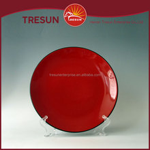 Inner red outer black stoneware dinner plate ceramic low price round shape dinner plate made in china