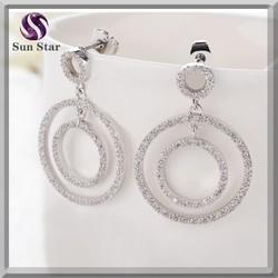 Handmade big double CZ Hoop Earrings .925 silver Dangler Earring fashion design jewelry