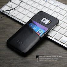 IMAK Wisdom Series Luxury Genuine Leather Unique Design Card Slot Back Cover Case for Samsung S6 edge