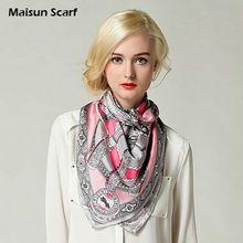 las mujeres la moda de sarga de seda cuadrada pañuelo en la cabeza