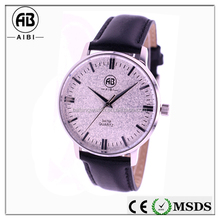 2015 best selling oem brand name logo stainless steel silver genuine leather black men thin quartz wirst watch