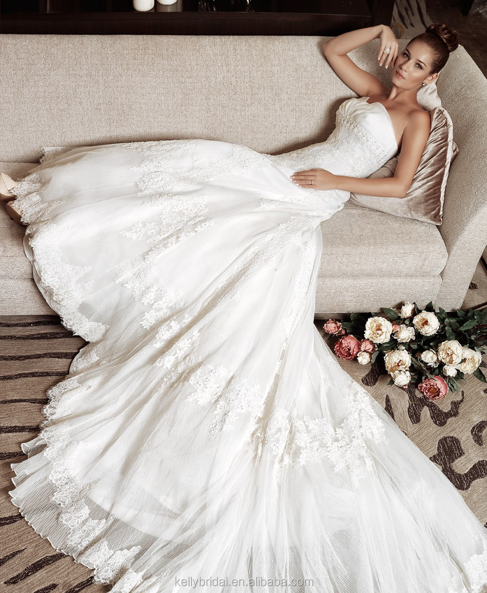 Zm16030 Detachable Big Long Train Gown Vintage Sweetheart White