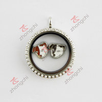 Dog charms floating glass living memory locket