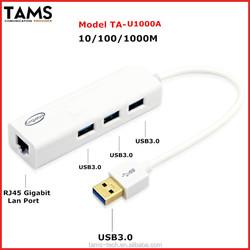 3 PORT USB3.0 HUB +10/100/1000Mbps RJ45 Gigabit Ethernet Lan Adapter