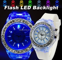 Silicone diamond colorful lights LED luminous watches women japan movt watch sport style