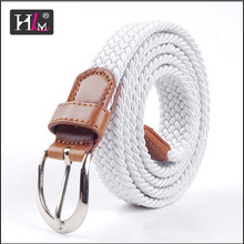 2015 New Design Italy Italian stretch woven belt image with Brown leatherr Tabs