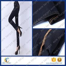 High quality black stretch denim fabric cotton polyester spandex