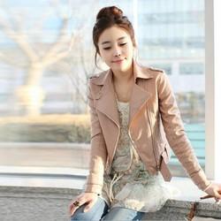 Z70682M Diagonal zipper motorcycle leather women short coat wholesale