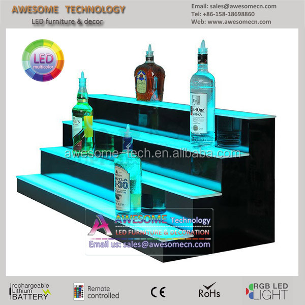 20 2 Tier LED Lighted Liquor Display Shelf White Finish