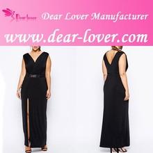 Plus Size Women Clothing Black Maxi Dress with Metal Bar