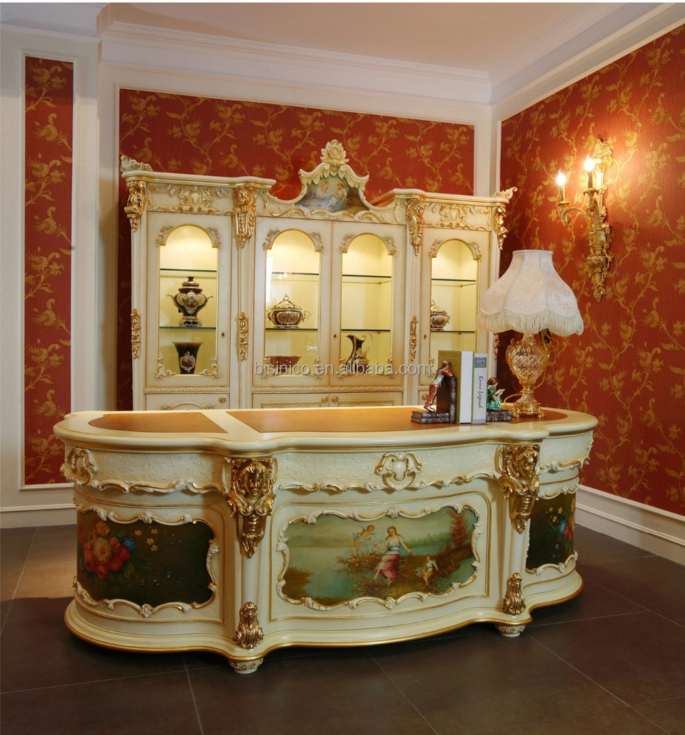 Luxury french rococo style classic office desk antique for French luxury
