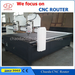 High tech! 3 axis two spindle heads wood furniture/door/floor board/coffins carving machine mini cnc router price