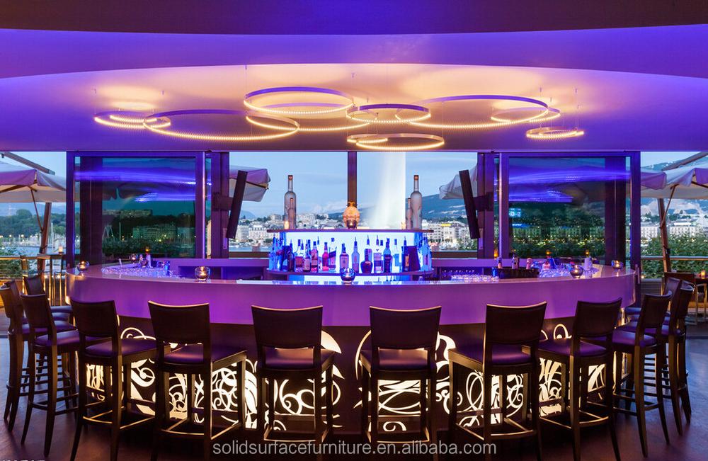 Fancy Coffee Shop Interiors Design Led Light Coffee Bar Table - Buy ...