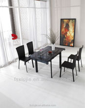 L808D-1 Latest Modern Rectangular Metal Large Extendable Glass Dining Table